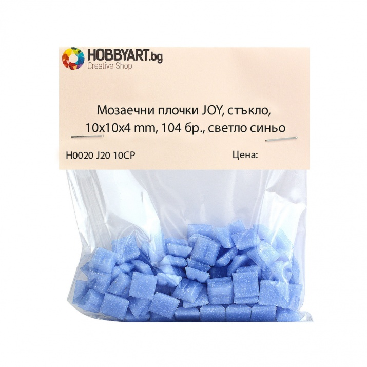 Мозаечни плочки JOY, стъкло, 10x10x4 mm, 104 бр., светло синьо