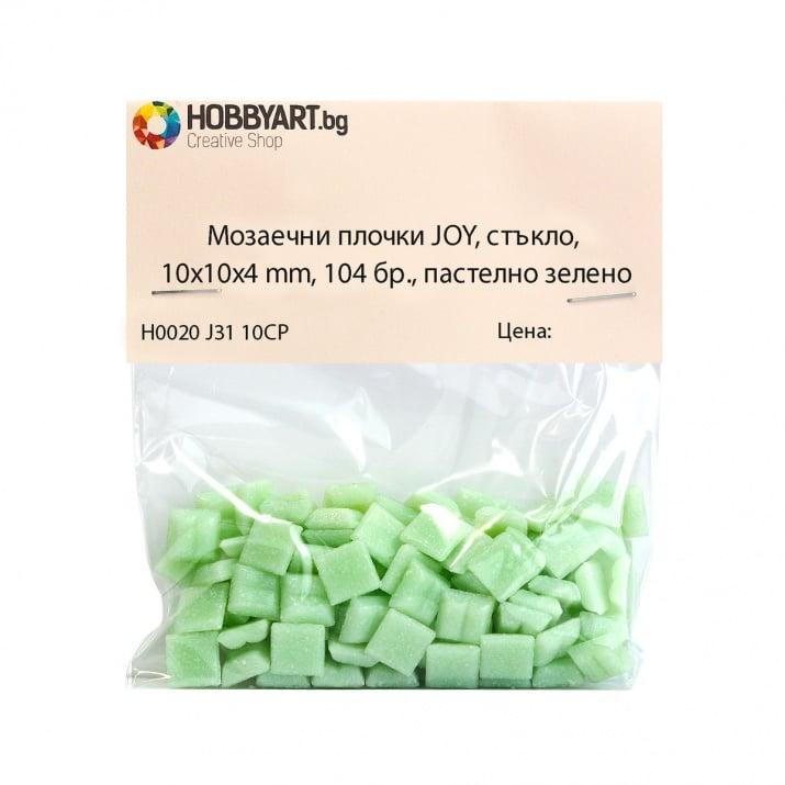 Мозаечни плочки JOY, стъкло, 10x10x4 mm, 104 бр., пастелно зелено