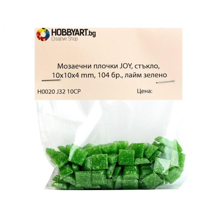Мозаечни плочки JOY, стъкло, 10x10x4 mm, 104 бр., лайм зелено