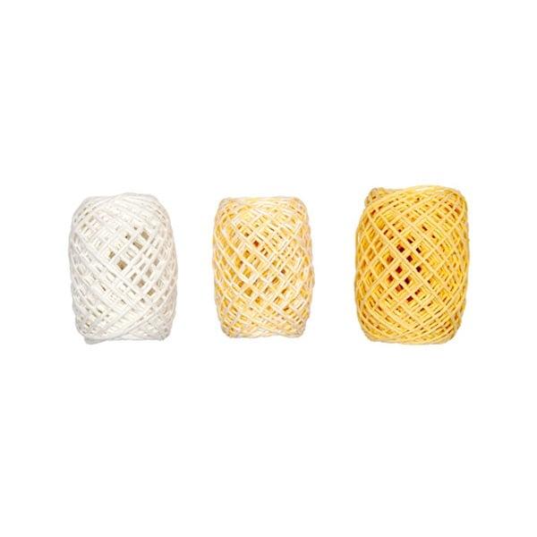 Хартиена връв, 2мм х 15м, 3 броя, жълт микс