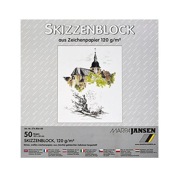 Хартия за скици, 190 g/m2 Хартия за скици, 120 g/m2, 30 x 30 cm, 50л в блок, бяла