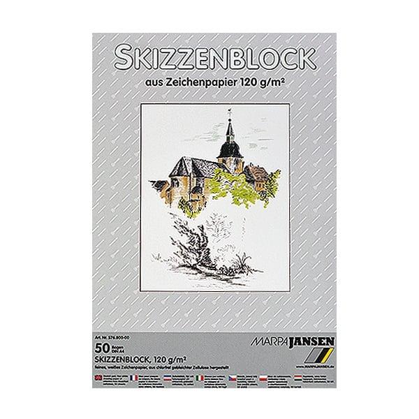 Хартия за скици, 190 g/m2 Хартия за скици, 120 g/m2, А4, 50 л. в блок, бяла