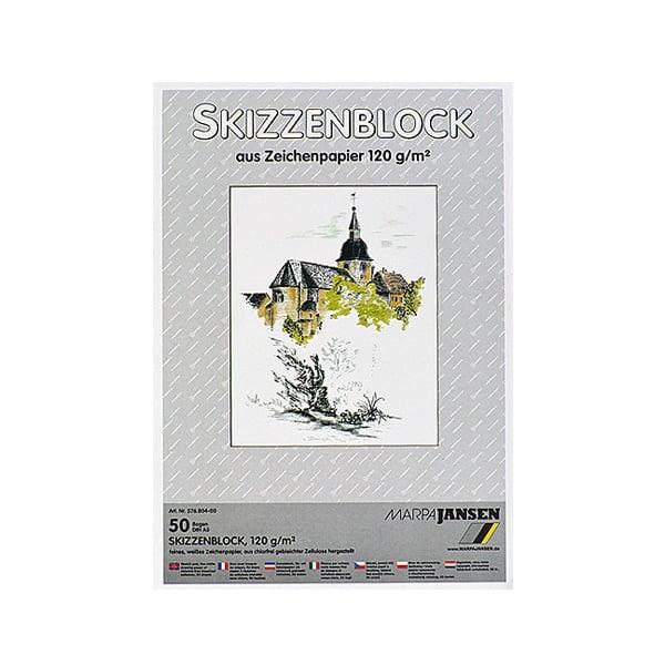 Хартия за скици, 190 g/m2 Хартия за скици, 120 g/m2, А5, 50 л. в блок, бяла