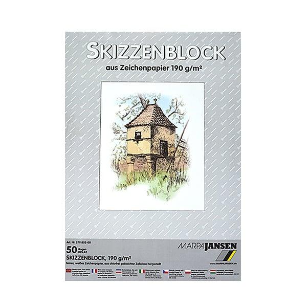 Хартия за скици, 190 g/m2 Хартия за скици, 190 g/m2, А2, 50 л. в блок, бяла