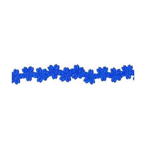 Лента с 3D мотиви, 12 mm, 2m, цветчета, кралско синя