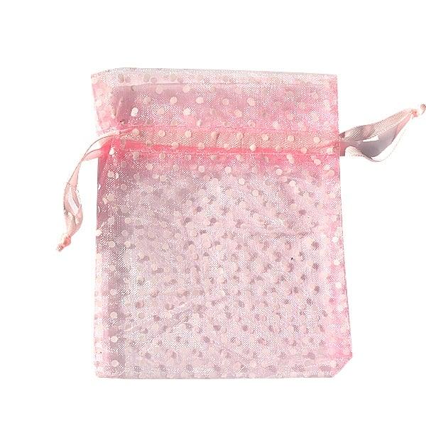 Торбичка подаръчна шифон, 12 x 17 cm Торбичка подаръчна шифон, 10 x 13 cm, розова на бели точки