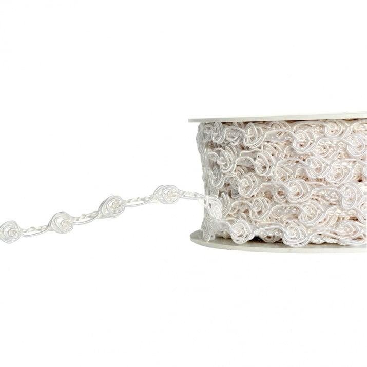 Лента с 3D мотиви, 10 mm, 25m, бели рози