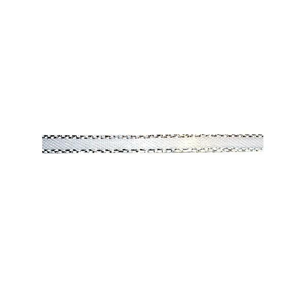 Лента сатенена със златен кант, 3 mm, 10m Лента сатенена със сребърен кант, 3 mm, 10m, бяла