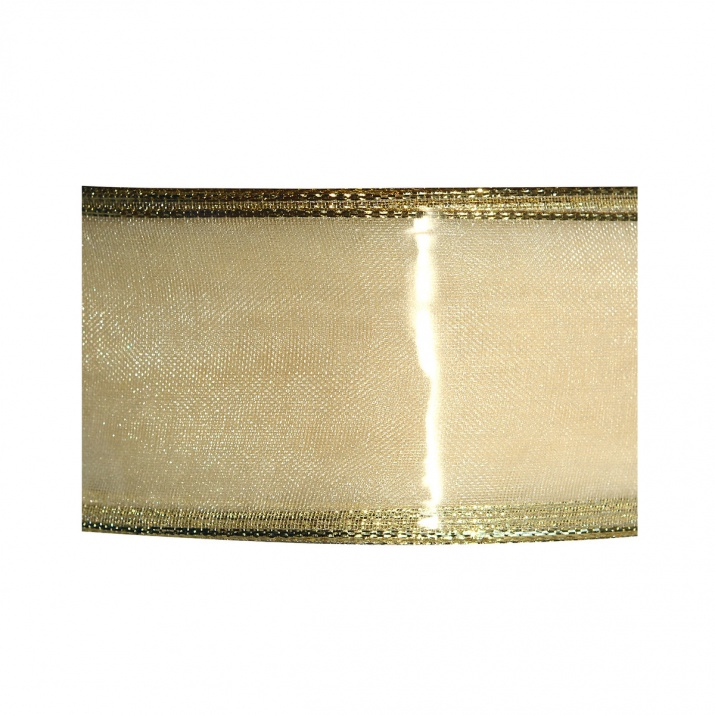 Лента UNI DRAHT, 25 mm, 10m Шифонена лента с лурекс кант, 40 mm, 25 m, златиста