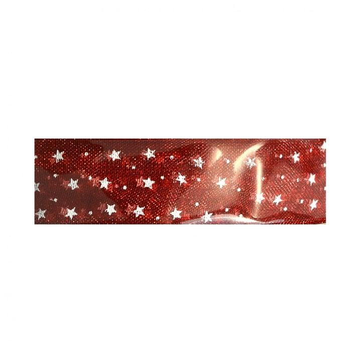 Шифонена лента, звезди, 15 mm, 5 m, розова