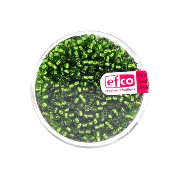 Индиански перли, сребриста нишка, ф 2,6 mm, ~1100 бр. Индиански перли, сребриста нишка, ф 2,6 mm, ~1100 бр., майскозелени