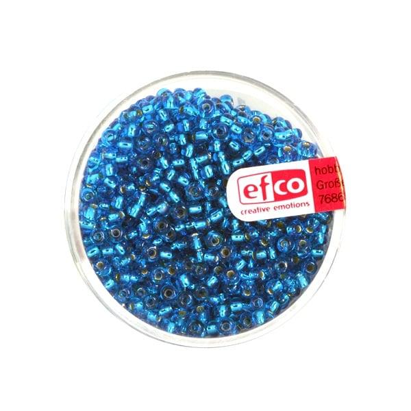 Индиански перли, сребриста нишка, ф 2,6 mm, ~1100 бр. Индиански перли, сребриста нишка, ф 2,6 mm, ~1100 бр., светлосини