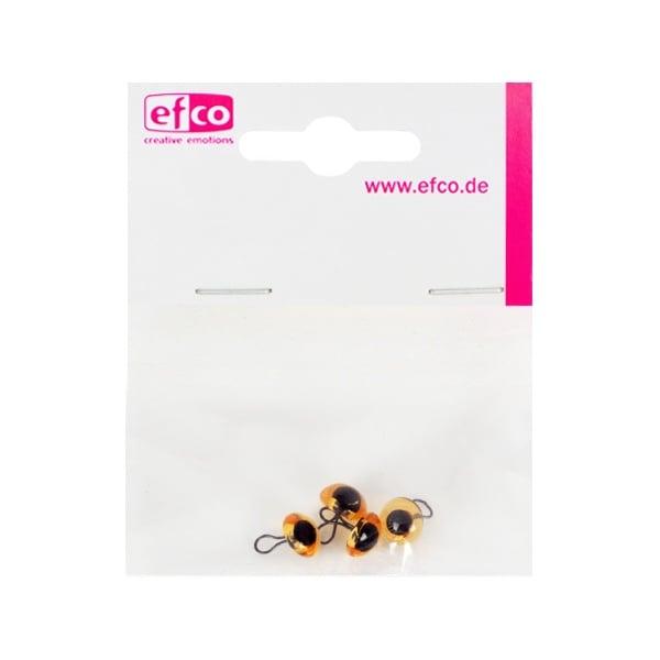Животински очички - копчета, ф 6 mm, 4 броя, жълти
