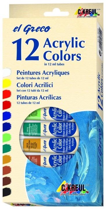 Комплект акрилни бои elGreco, 12 ml