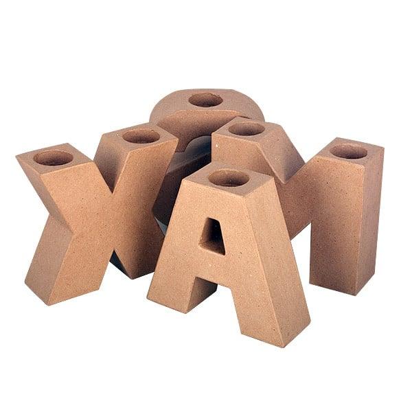 Комплект букви XMAS от папие маше, 17.5 x 16 x 5.5 cm, 4 бр.