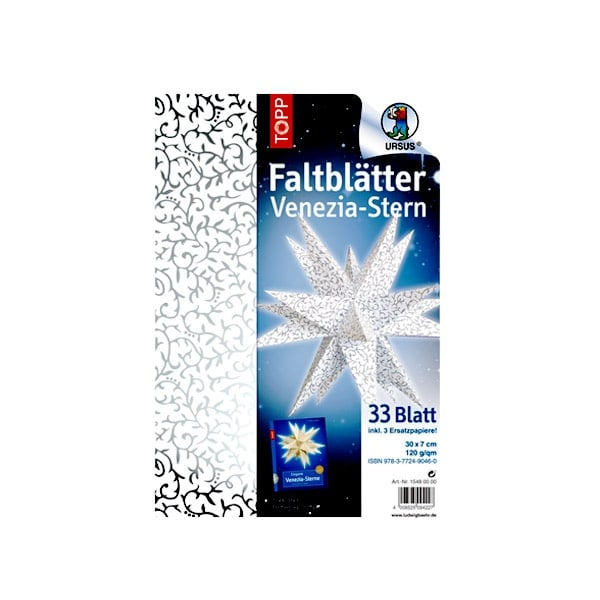Комплект, Faltblatter Venezia-Stern, Weiss/Silber