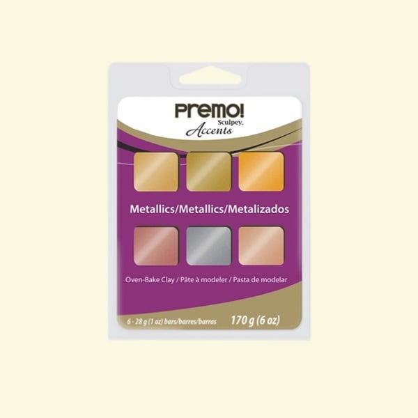 Комплект глина Premo! Accents Sculpey, 6 цвята металик