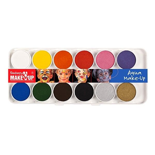 Комплект гримове в кутия Aqua Make Up, 12 цвята + 2 четки