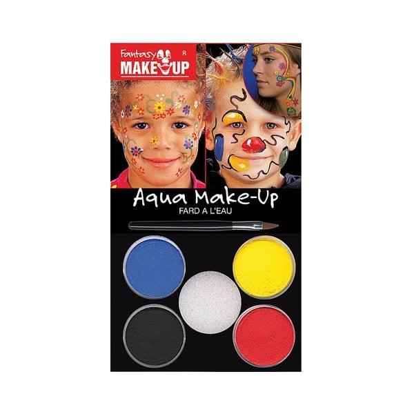Комплект гримове в кутия Aqua Make Up, 5 цвята + 1 четка Комплект гримове в кутия Aqua Make Up, 5 цвята + 1 четка, цветя