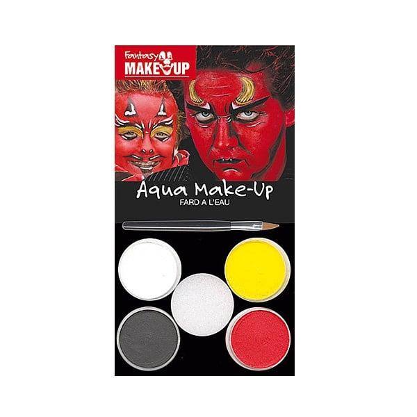 Комплект гримове в кутия Aqua Make Up, 5 цвята + 1 четка Комплект гримове в кутия Aqua Make Up, 5 цвята + 1 четка, дяволи
