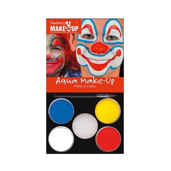 Комплект гримове в кутия Aqua Make Up, 5 цвята + 1 четка Комплект гримове в кутия Aqua Make Up, 5 цвята + 1 четка, клоуни