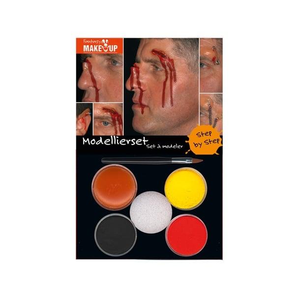 Комплект гримове в кутия Aqua Make Up, 5 цвята и 1 четка Комплект гримове в кутия Aqua Make Up, 5 цвята + 1 четка, наранявания