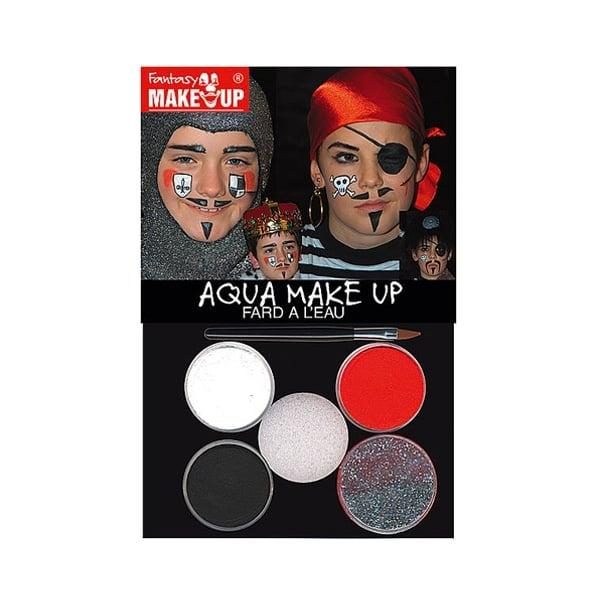 Комплект гримове в кутия Aqua Make Up, 5 цвята + 1 четка Комплект гримове в кутия Aqua Make Up, 5 цвята + 1 четка, пирати