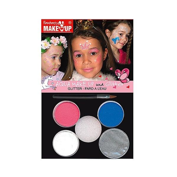 Комплект гримове в кутия Aqua Make Up, 5 цвята + 1 четка Комплект гримове в кутия Aqua Make Up, 5 цвята + 1 четка, принцеси