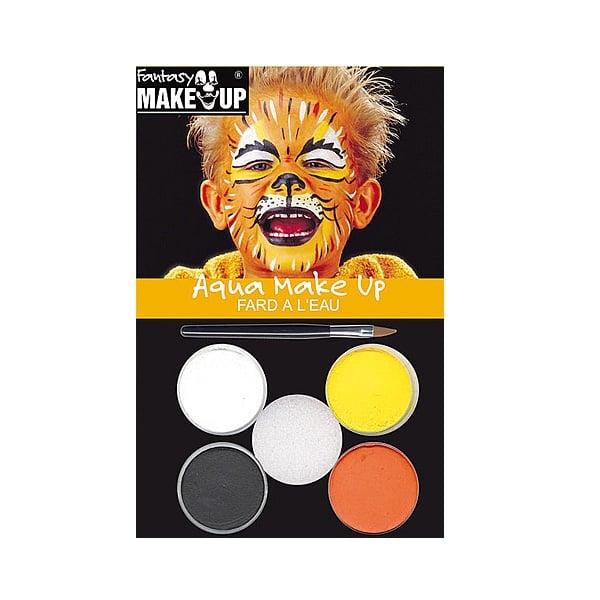 Комплект гримове в кутия Aqua Make Up, 5 цвята + 1 четка Комплект гримове в кутия Aqua Make Up, 5 цвята + 1 четка, тигри