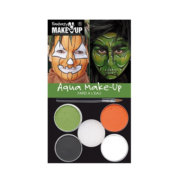 Комплект гримове в кутия Aqua Make Up, 5 цвята + 1 четка Комплект гримове в кутия Aqua Make Up, 5 цвята + 1 четка, тикви