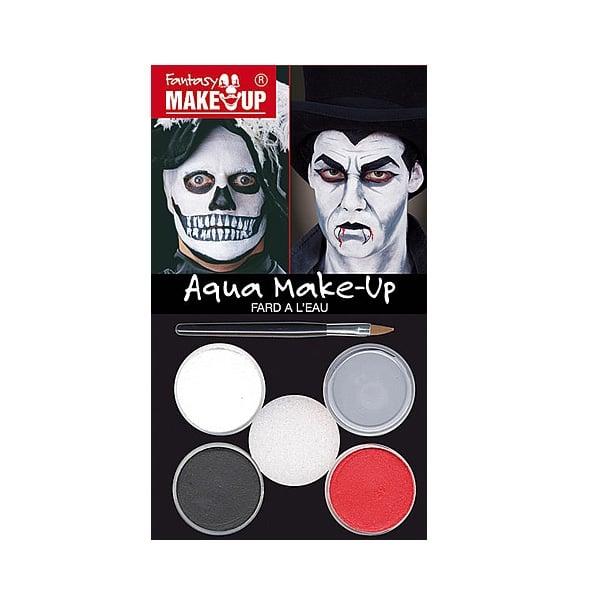 Комплект гримове в кутия Aqua Make Up, 5 цвята + 1 четка Комплект гримове в кутия Aqua Make Up, 5 цвята + 1 четка, вампири