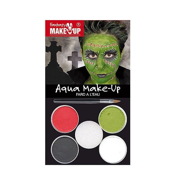 Комплект гримове в кутия Aqua Make Up, 5 цвята + 1 четка Комплект гримове в кутия Aqua Make Up, 5 цвята + 1 четка, зомбита