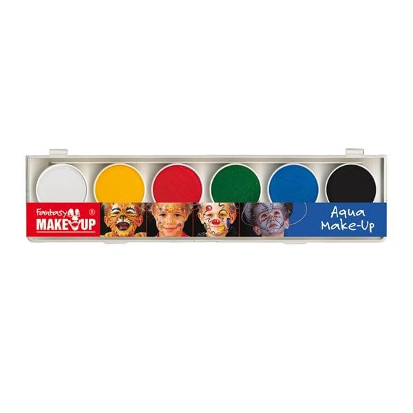 Комплект гримове в кутия Aqua Make Up, 6 цвята + 2 четки