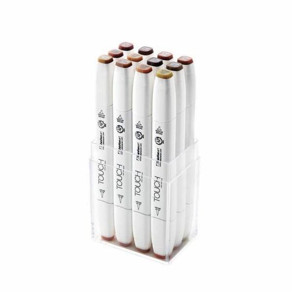Комплект маркери TOUCH TWIN BRUSH, 12 бр., дървесни цветове