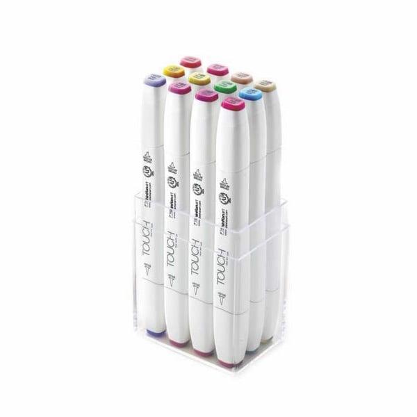 Комплект маркери TOUCH TWIN BRUSH, 12 бр., пастелни цветове