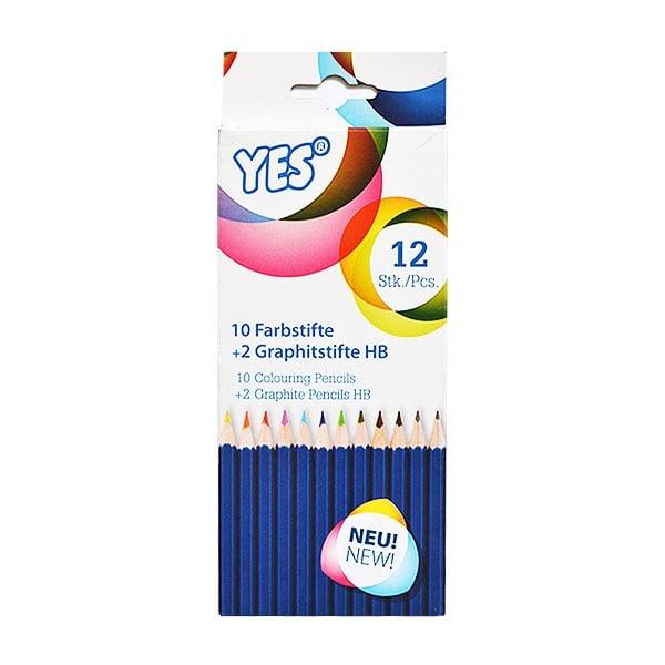 "Алуминиево фолио, 20 х 30 см / 0,15 мм, 3 бр., двуцветно - червено и сребристо Комплект моливи  CretaColor, ""YES"", 10 color + 2 HB, 12 бр."