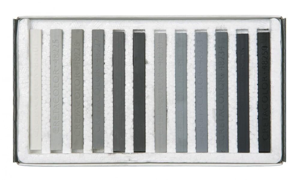 Комплект пастели CretaColor, BROWN CHALKS, 12 бр., сиви
