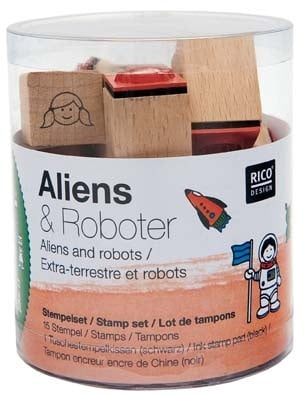 Комплект печати RicoDesign, ALIENS AND ROBOTS, 15 бр., 2,8 x 2 x 2 cm