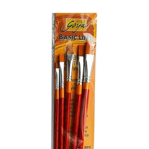 Комплект плоски четки Solo Goya със синтетичен косъм, 5 броя