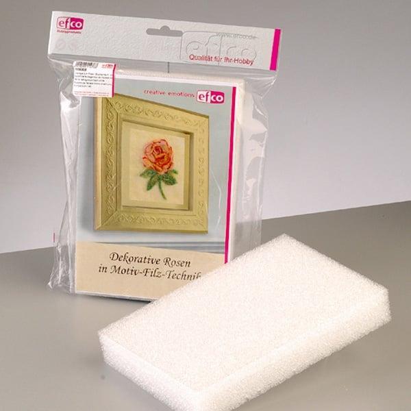 Комплект за техника картина от филц, Роза, 21 x 15 х 3,3 cm/ А5, бяла