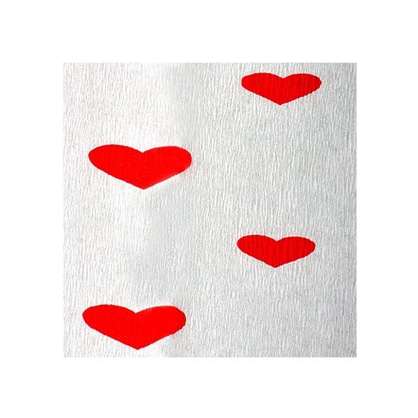Креп-хартия, 35 g/m2, 50 x 250 cm, 1 ролка, бяло на червени сърчица