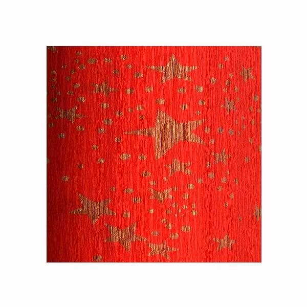 Креп-хартия, 35 g/m2, 50 x 250 cm, 1 ролка, червено на златни звездици