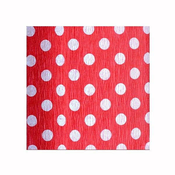 Креп-хартия, 35 g/m2, 50 x 250 cm, 1 ролка, точки бели/ червени
