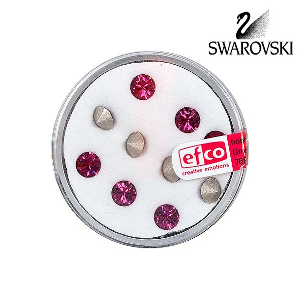 Кристали Swarovski Chatons, ф 5 mm, 10 бр. Кристали Swarovski Chatons, ф 5 mm, 10 бр., фуксия