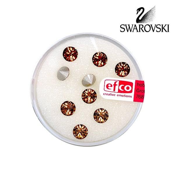 Кристали Swarovski Chatons, ф 5 mm, 10 бр. Кристали Swarovski Chatons, ф 5 mm, 10 бр., светъл опушен топаз