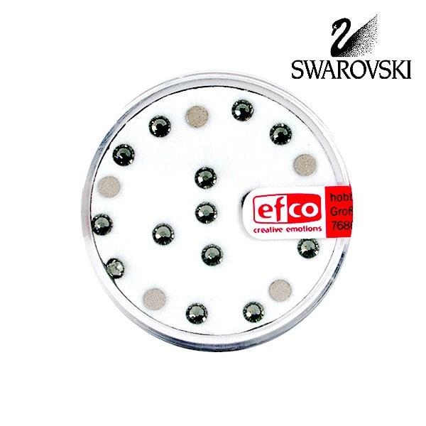 Кристали Swarovski, едностранно плоски, ф 3 mm, 20 бр. Кристали Swarovski, едностранно плоски, ф 3 mm, 20 бр., черен диамант