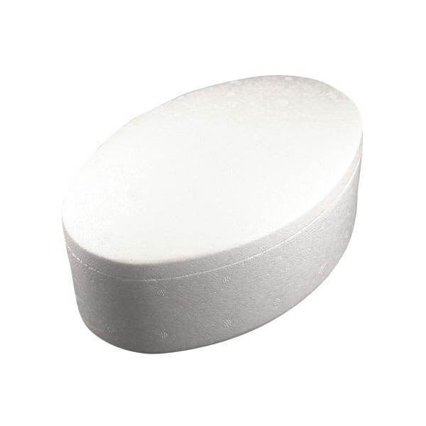 Кутия овална от стиропор, бял, 190 x 130 mm