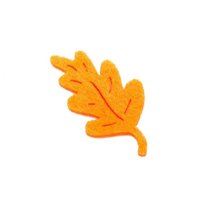 Деко фигурка дъбов лист, Filz, 50 mm, оранжев