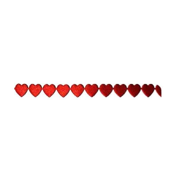 Лента с 3D мотиви, 10 mm, 2m, сърчица Лента с 3D мотиви, 10 mm, 2m, сърчица, червена