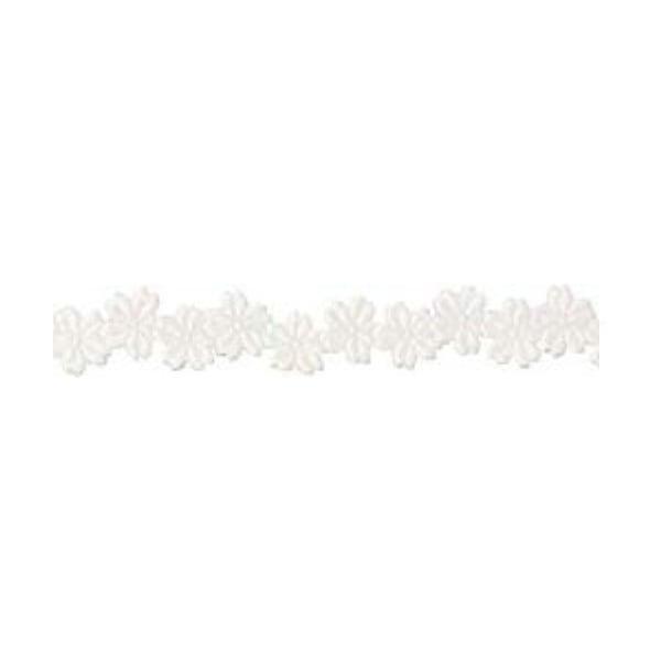 Лента с 3D мотиви, 12 mm, 2m Лента с 3D мотиви, 12 mm, 2m, цветчета, бяла